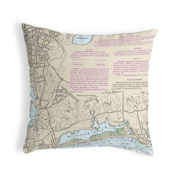 Block Island Sound - Westerly State Airport, RI Nautical Map Noncorded Pillow 12x12