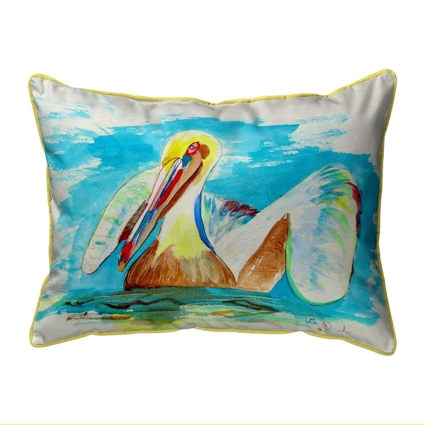 Pelican in Teal Small Pillow 11x14