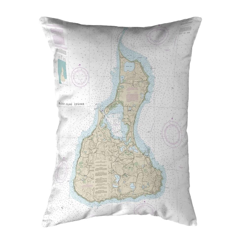 Block Island #2, RI Nautical Map Noncorded Pillow 11x14 (Knife Edge - Accent - Nautical & Coastal) -  Betsy Drake Interiors, KS13217