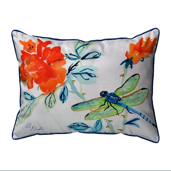 Dragonfly & Red Flower Extra Large Zippered Pillow 20x24