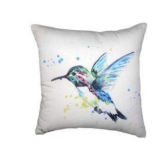 Green Hummingbird No Cord Pillow 18x18