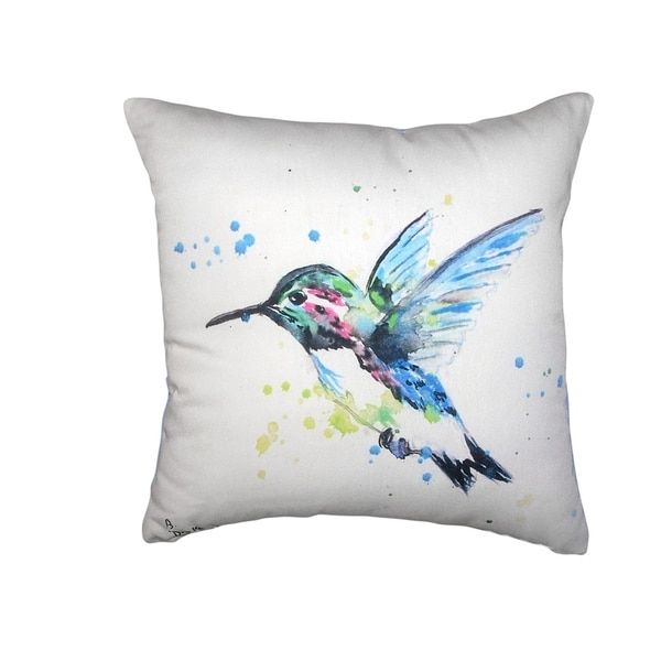 Green Hummingbird No Cord Pillow 18x18