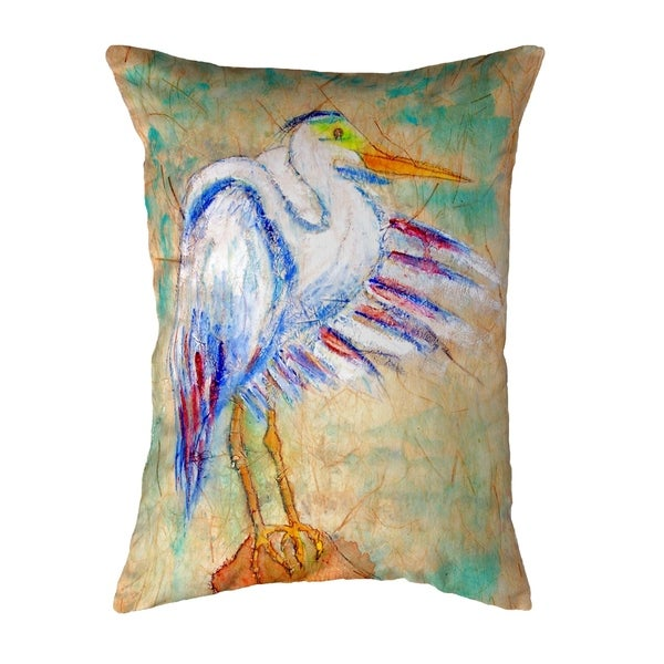 Egret on Rice Small No-Cord Pillow 11x14