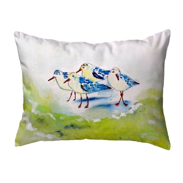 Green Sanderlings Small No-Cord Pillow 11x14