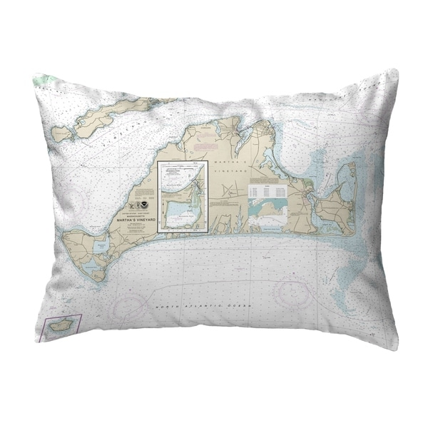 Martha's Vineyard, MA Nautical Map Noncorded Pillow 11x14