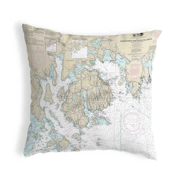 Frenchman and Blue Hill Bays, ME Nautical Map Noncorded Pillow 12x12