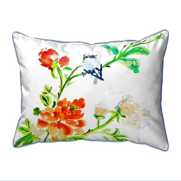 Blue Bird & Flowers Small Pillow 11x14