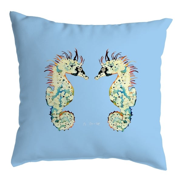 Betsy's Seahorses Light Blue Background Noncorded Pillow 18x18