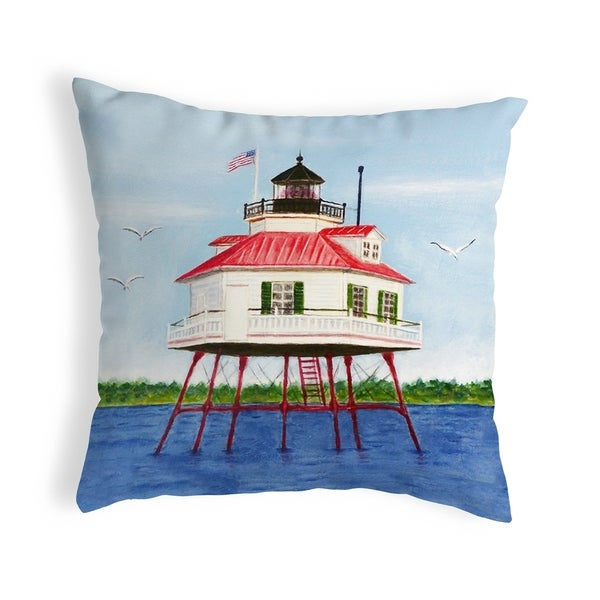 Drum Point Lighthouse Small No-Cord Pillow 12x12