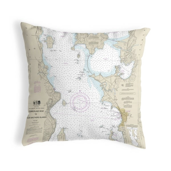 Cumberland Head to Four Brothers Islands, VT Nautical Map Noncorded Pillow 12x12