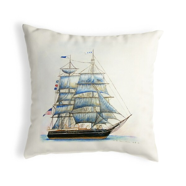 Whaling Ship Small No-Cord Pillow 12x12