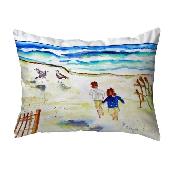 Running at the Beach Small No-Cord Pillow 11x14