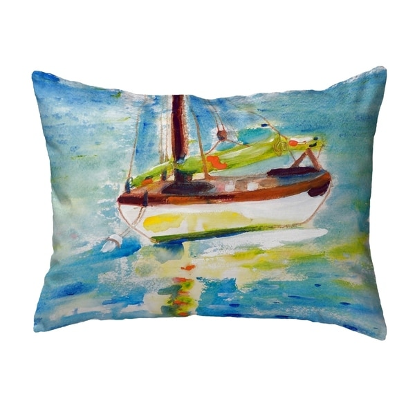 Yellow Sailboat Small No-Cord Pillow 11x14