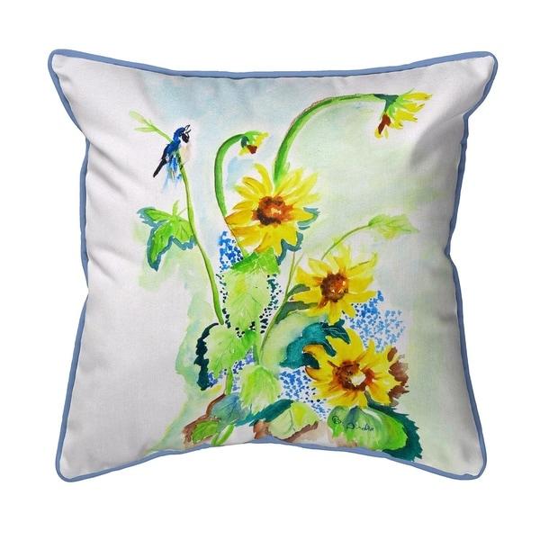 Sunflower & Bird Small Pillow 12x12
