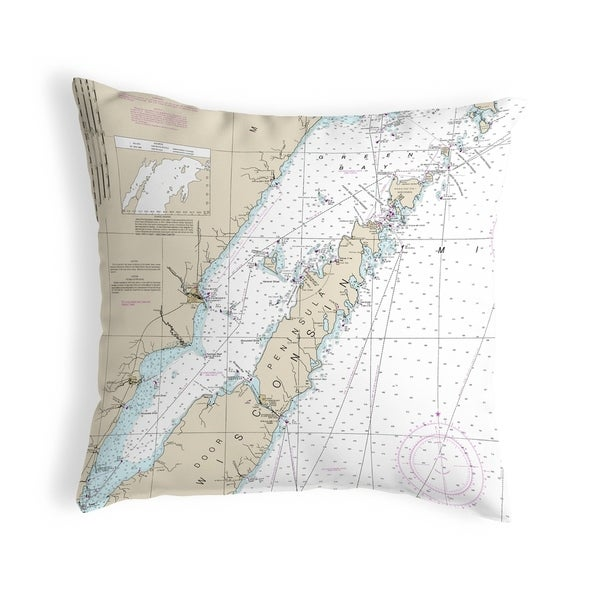 Door County, Green Bay, WI Nautical Map Noncorded Pillow 12x12