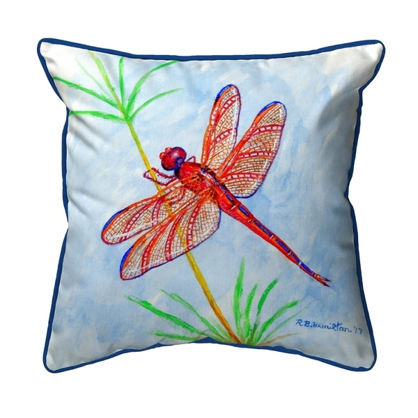 Red DragonFly Small Pillow 12x12