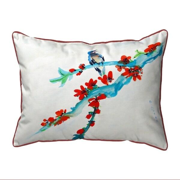 Red Buds & Bird Small Outdoor/Indoor Pillow 11x14
