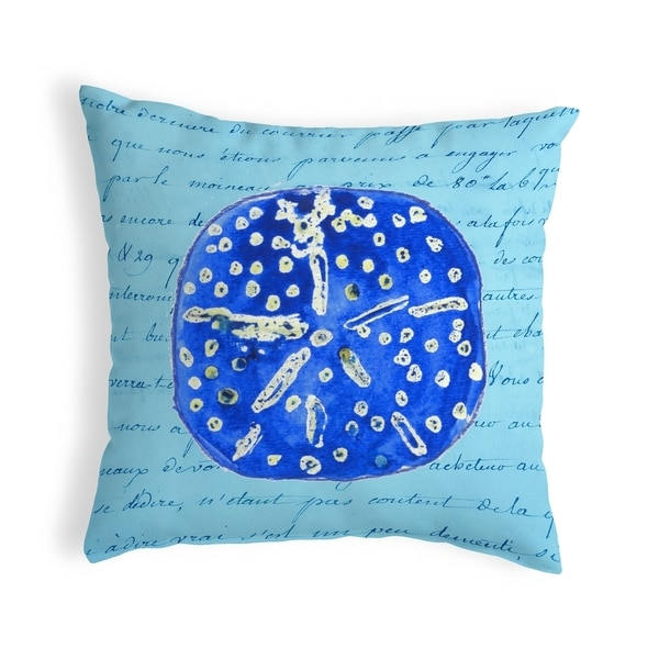 Blue Sand Dollar Small No-Cord Pillow 12x12