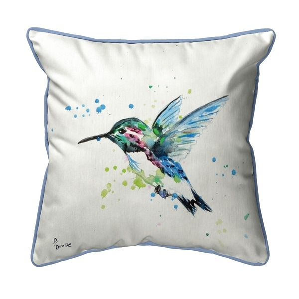 Green Hummingbird Small Outdoor/Indoor Pillow 12x12