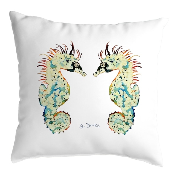 Betsy's Seahorses White Background Noncorded Pillow 12x12