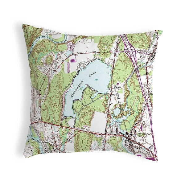 Alexander's Lake, CT Nautical Map Noncorded Pillow 12x12