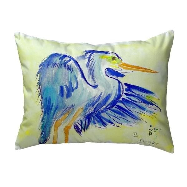 Teal Blue Heron Small No-Cord Pillow 11x14