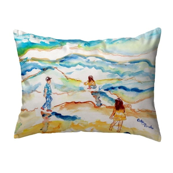 Playing at the Beach Small No-Cord Pillow 11x14