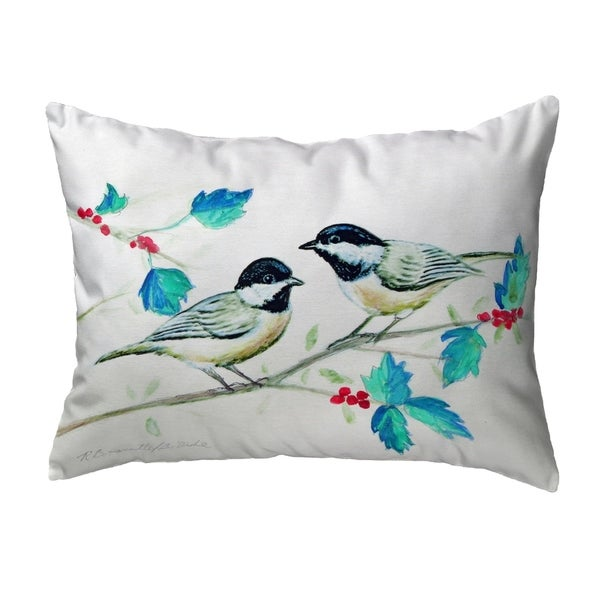 Christmas Chickadees Noncorded Pillow 11x14