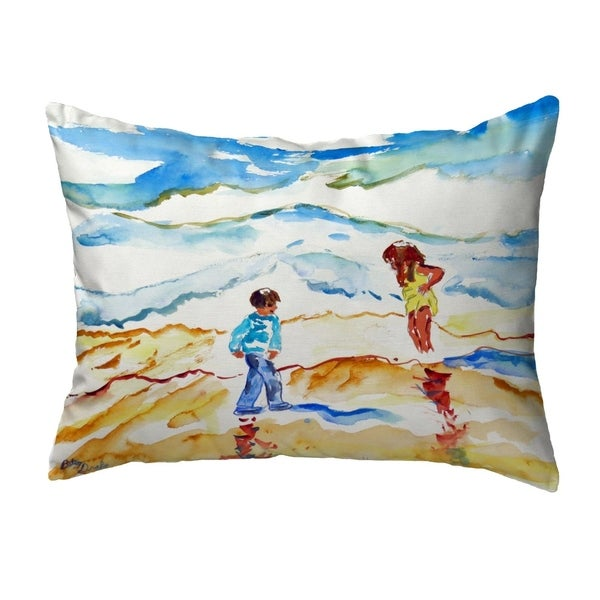 Wading at the Beach Small No-Cord Pillow 11x14