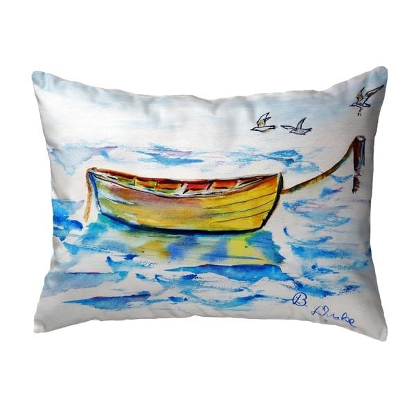 Yellow Row Boat Small No-Cord Pillow 11x14