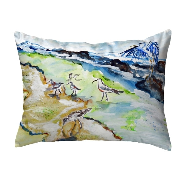 Sandpipers & Heron Small No-Cord Pillow 11x14