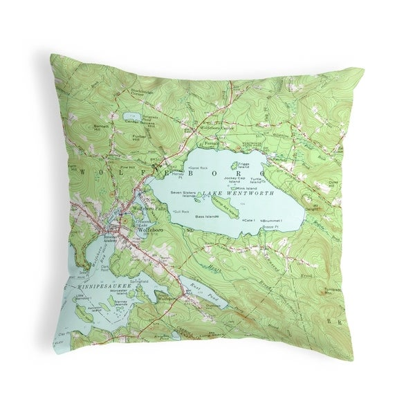 Lake Wentworth, NH Nautical Map Noncorded Pillow 12x12