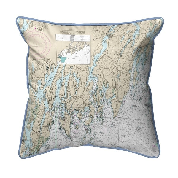 Southport - Pemaquid, ME Nautical Map - Light Blue Cord Small Corded Pillow 12x12