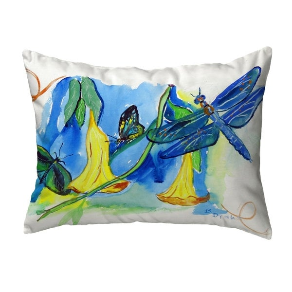 Yellow Bells & DragonFly Small No-Cord Pillow 11x14