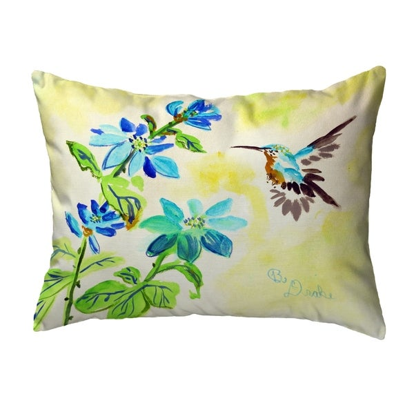 Aqua Hummingbird Noncorded Pillow 16x20