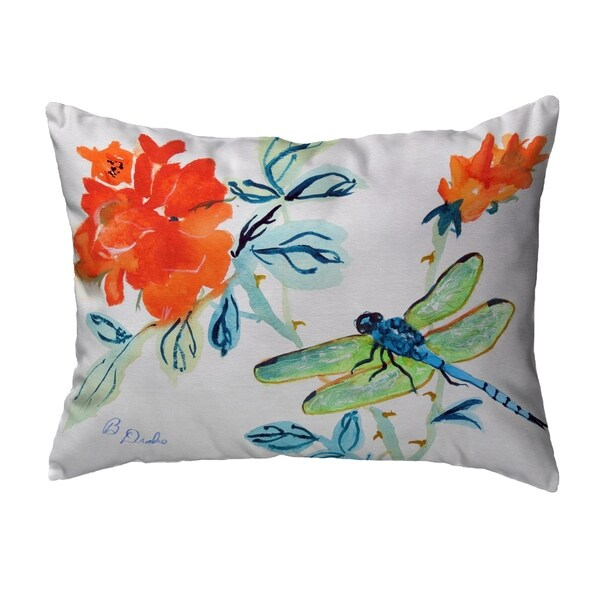 Dragonfly & Red Flower Noncorded Pillow 16x20