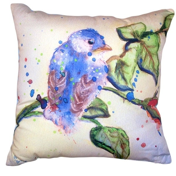 Betsy's Blue Bird No Cord Pillow 18x18