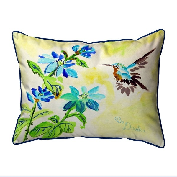 Aqua Hummingbird Small Pillow 11x14