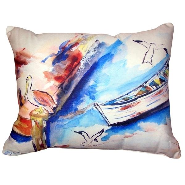 Rowboat & Birds No Cord Pillow 16x20