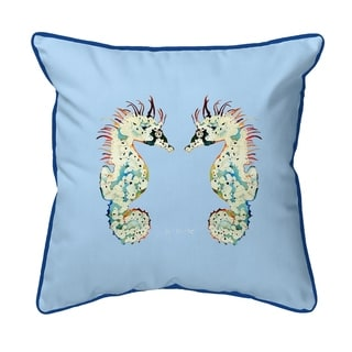 Betsy's Seahorses Light Blue Background Small Corded Pillow 12x12