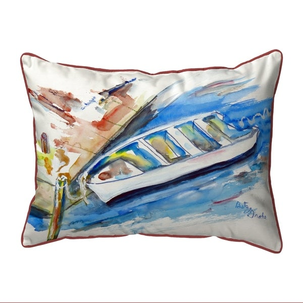 Rowboat at Dock Small Outdoor/Indoor Pillow 11x14