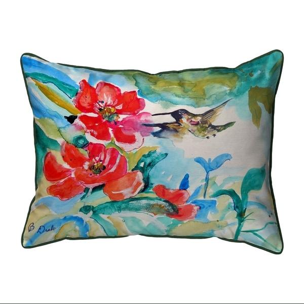 Hummingbird & Red Flower Extra Large Zippered Pillow 20x24
