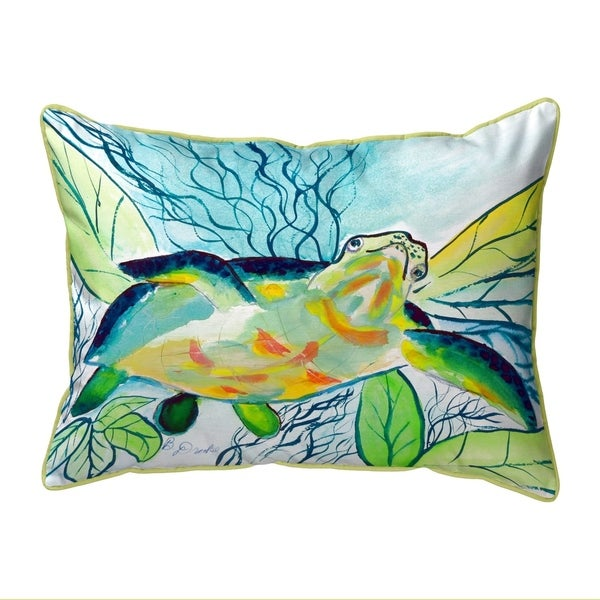 Smiling Sea Turtle Extra Large Zippered Pillow 20x24