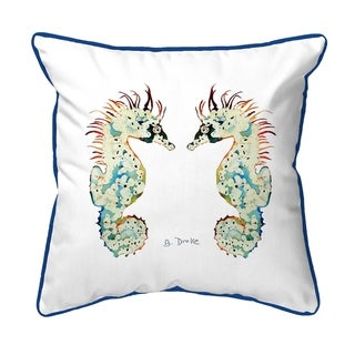 Betsy's Seahorses White Background Extra Large Corded Pillow 22x22
