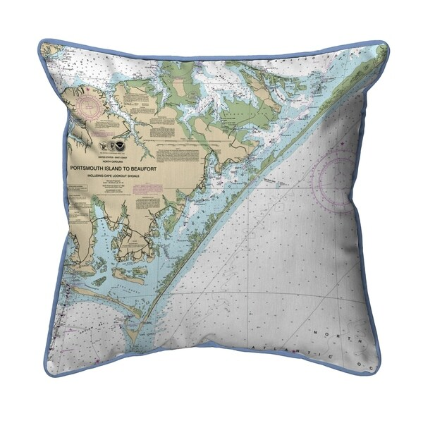 Portsmouth Island to Beaufort - Core Sound, NC Nautical Map Extra Large Zippered Pillow 22x22