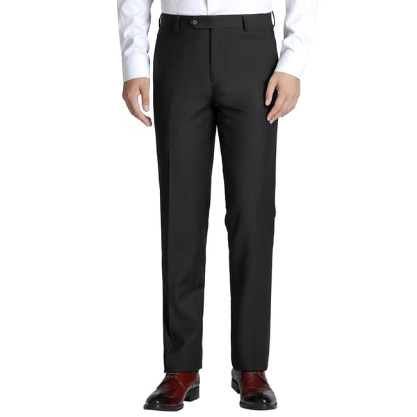 Mens Classic-Fit Performance Flat Front Wool Dress Pant