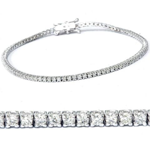 "14k White Gold 2 ct Diamond Tennis Bracelet 7"" Double Locking Clasp"