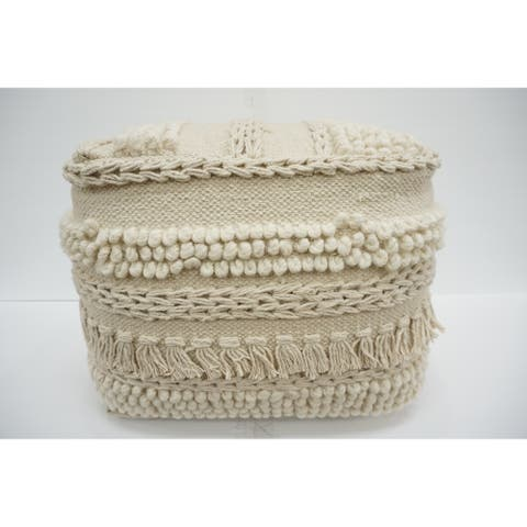 The Curated Nomad Chicory Beige Cotton Pouf Ottoman
