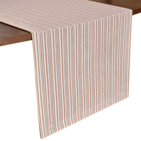 Glamburg 2-Pack French Farmhouse Stripe Pure Cotton Table Runner Set with Mitered Corners