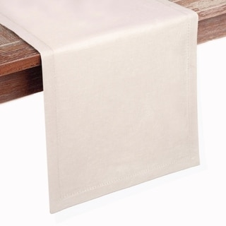 GLAMBURG 2 Pack Hemstitch Linen Table Runners Linen Cotton Wedding Rustic Decor Dining Party Table Runner